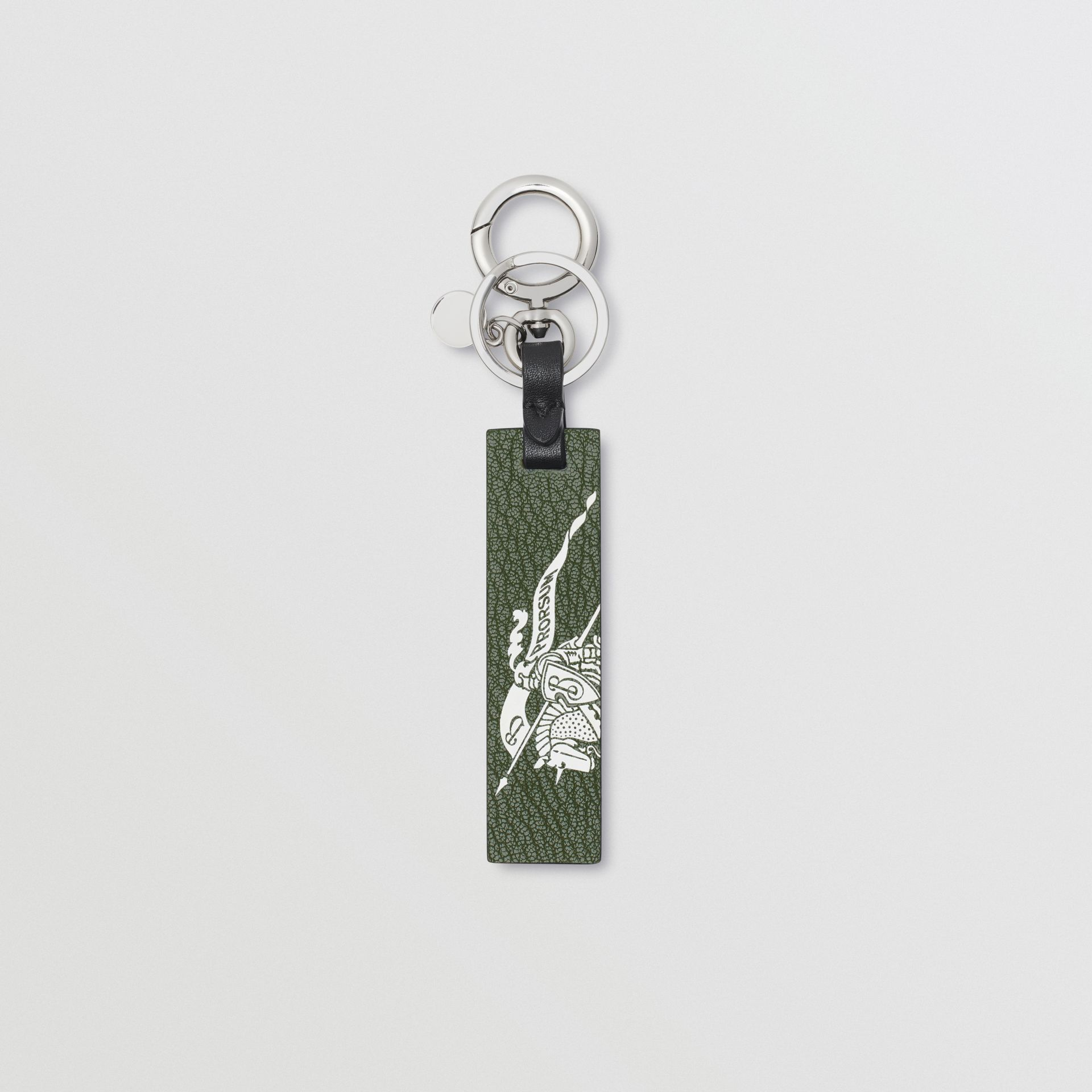 Logo Print Leather Key Ring in Storm Blue/antique Green - Men | Burberry United States - gallery image 0
