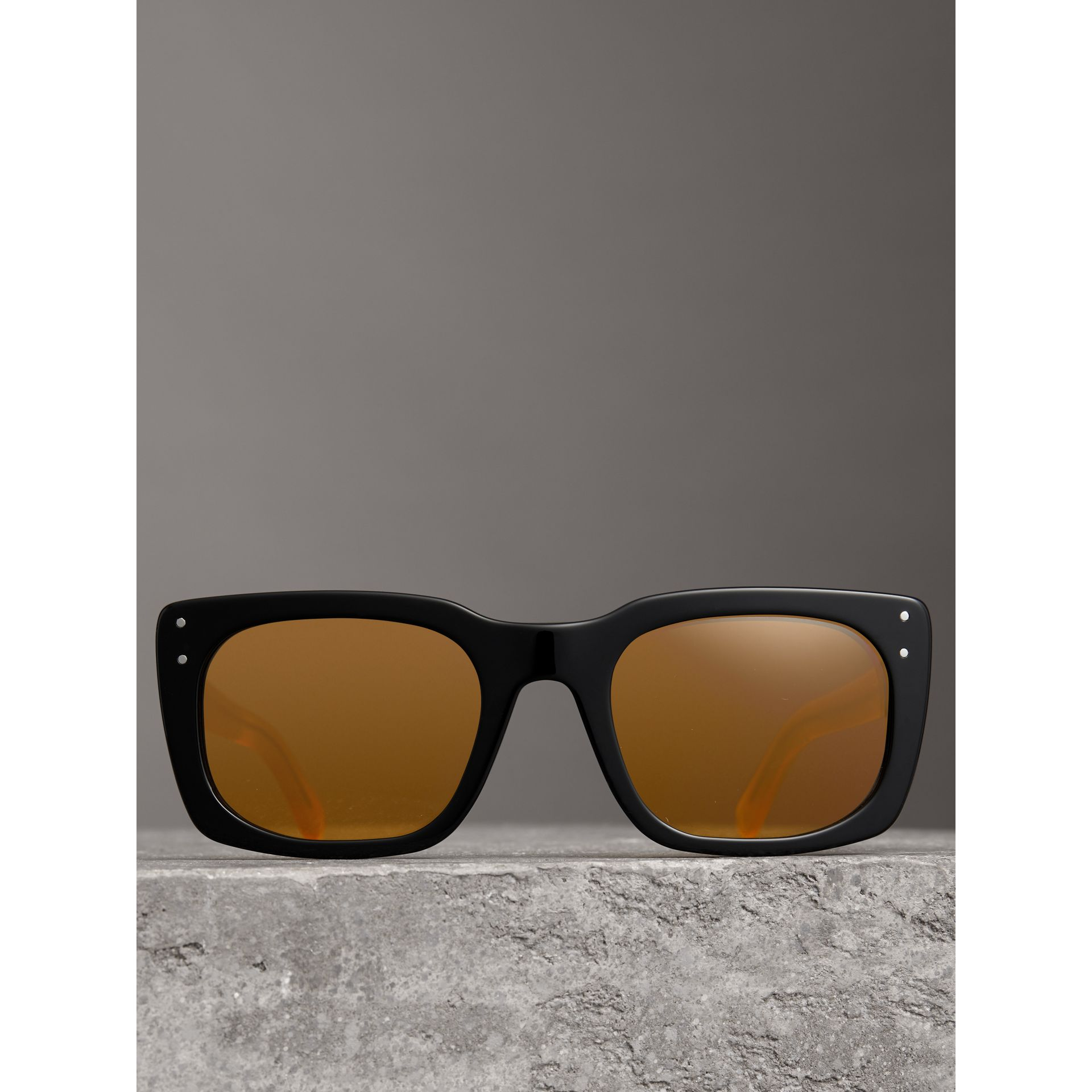 Square Frame Sunglasses in Black - Women | Burberry Canada - gallery image 3