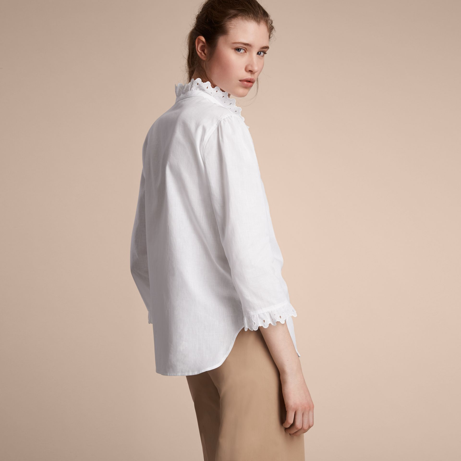 Broderie Anglaise Detail Linen Cotton Shirt - Women | Burberry - gallery image 3