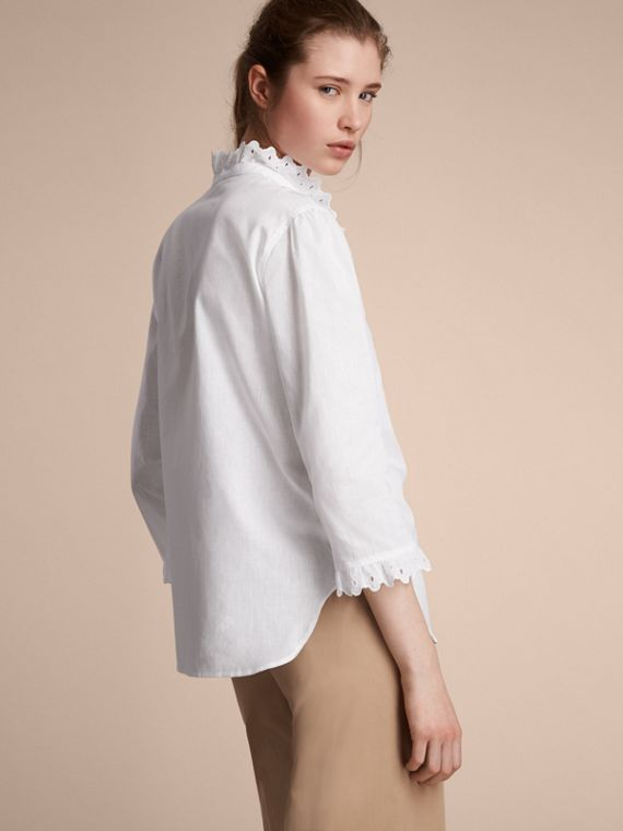 Broderie Anglaise Detail Linen Cotton Shirt - Women | Burberry - cell image 2