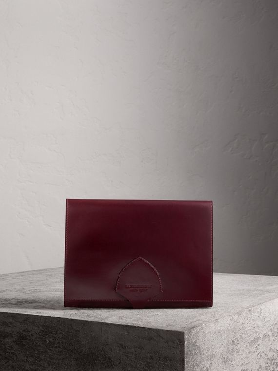Equestrian Shield Leather A4 Document Case in Deep Claret