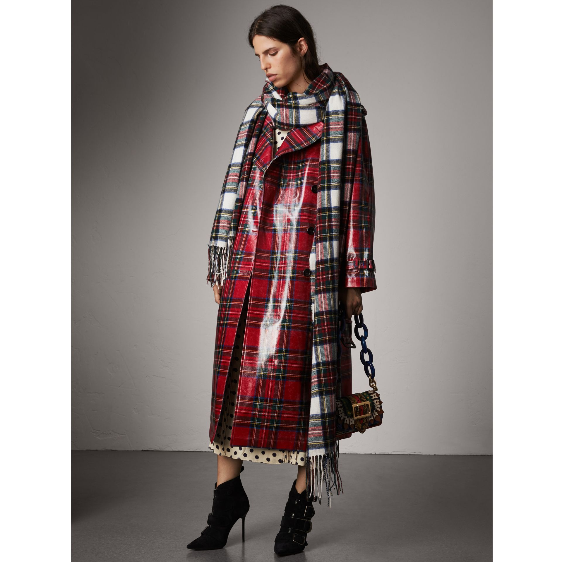 Laminated Tartan Wool Trench Coat in Bright Red - Women | Burberry - gallery image 1