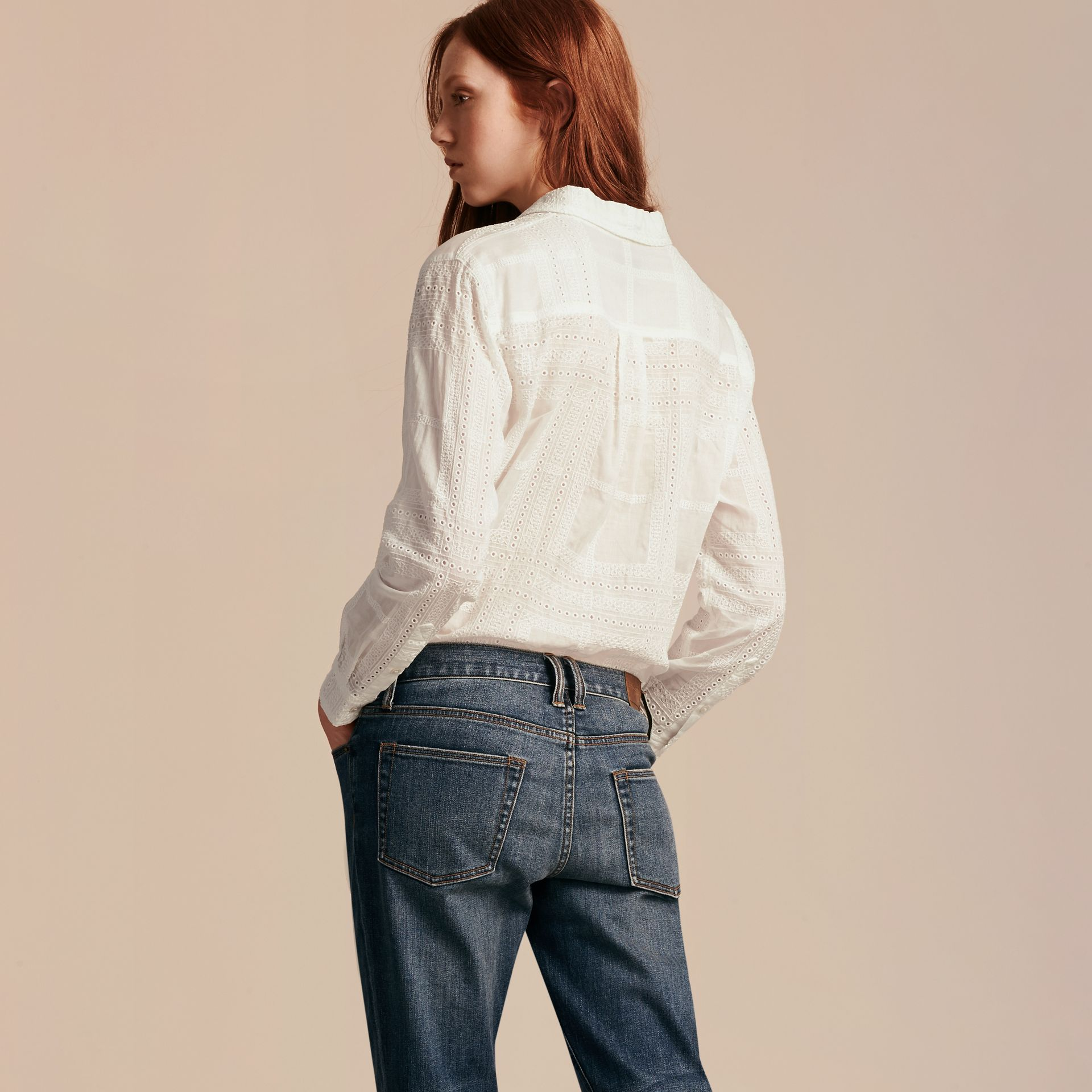 Check Cotton Broderie Anglaise Shirt - gallery image 3