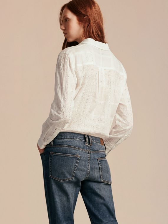 Check Cotton Broderie Anglaise Shirt - cell image 2