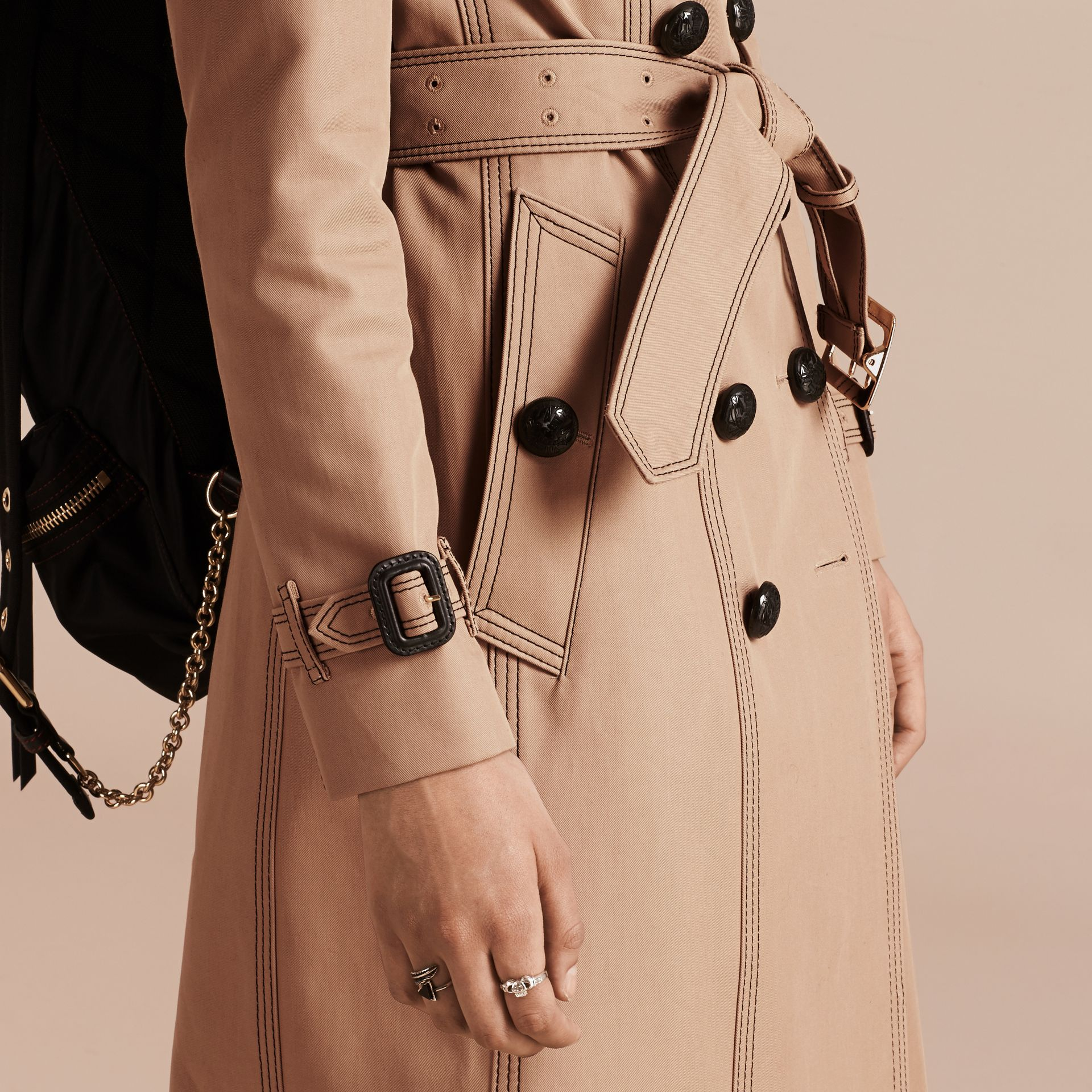 Honey Slim Fit Cotton Trench Coat with Topstitching - gallery image 5
