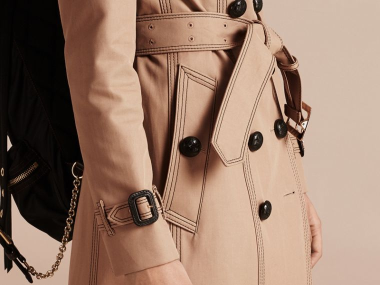Honey Slim Fit Cotton Trench Coat with Topstitching - cell image 4