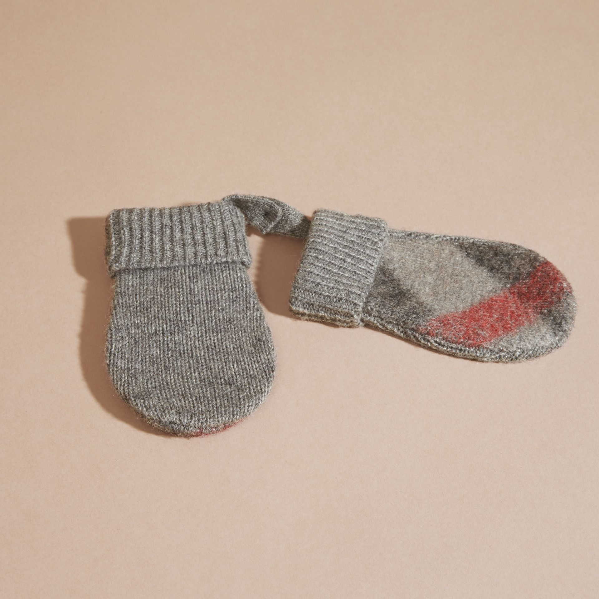 Light grey melange Check Wool and Cashmere Mittens - gallery image 3
