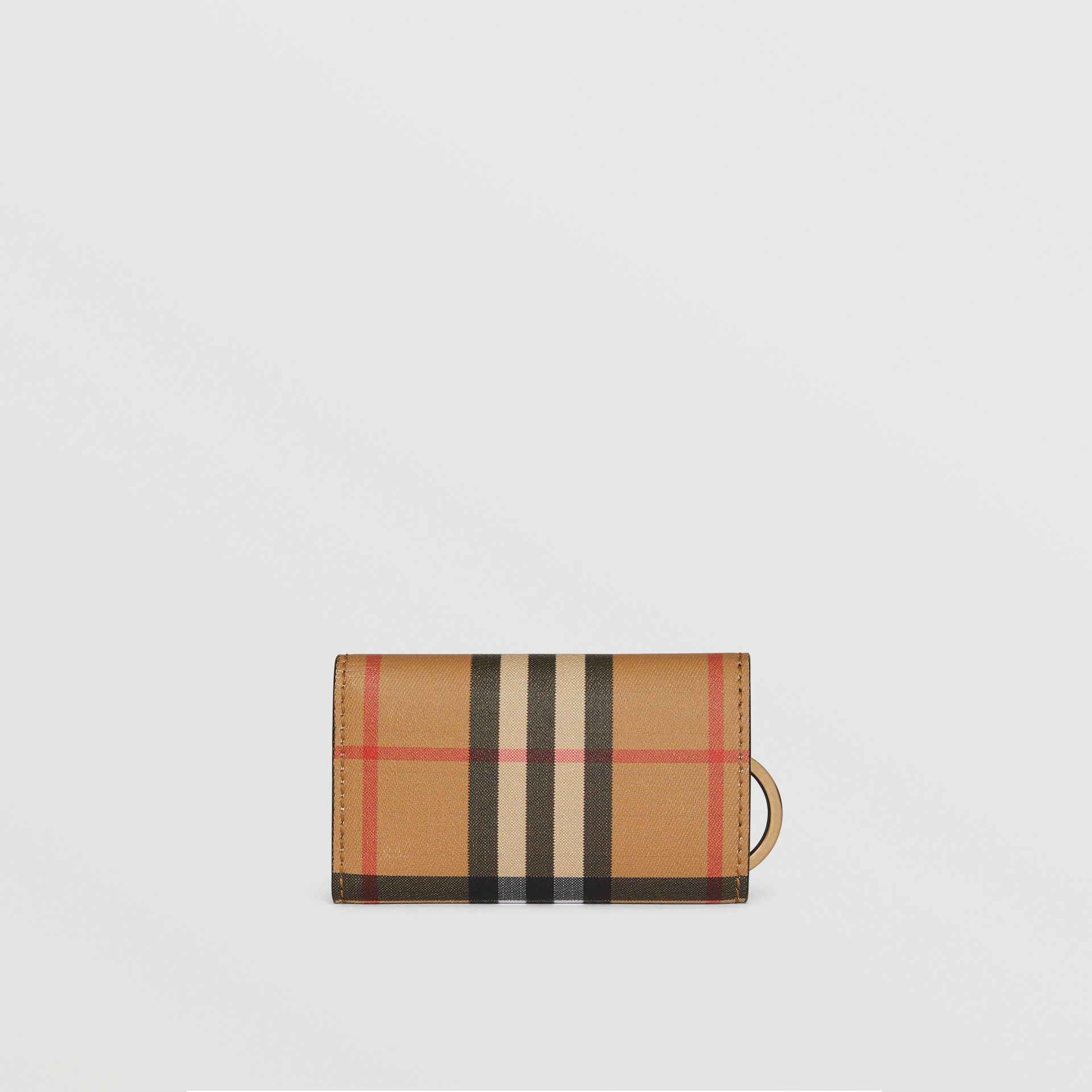 Vintage Check and Leather Key Case in Black - Women | Burberry - gallery image 2