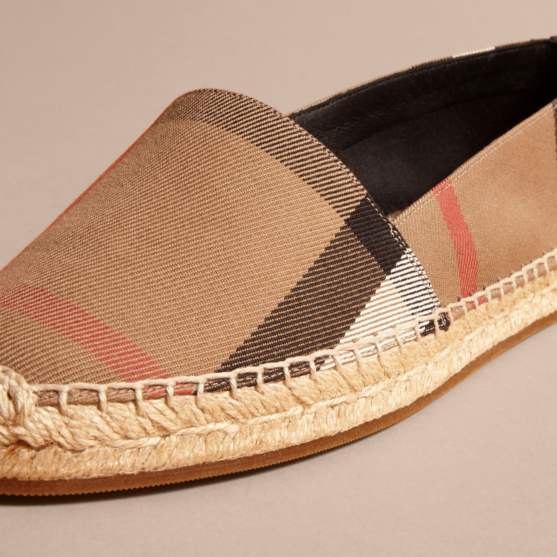 Leather Trim Canvas Check Espadrilles in Classic - Women | Burberry Canada - gallery image 2