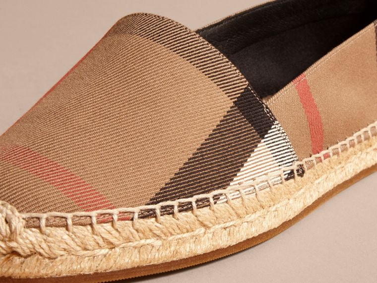 Leather Trim Canvas Check Espadrilles in Classic - Women | Burberry Canada - cell image 1