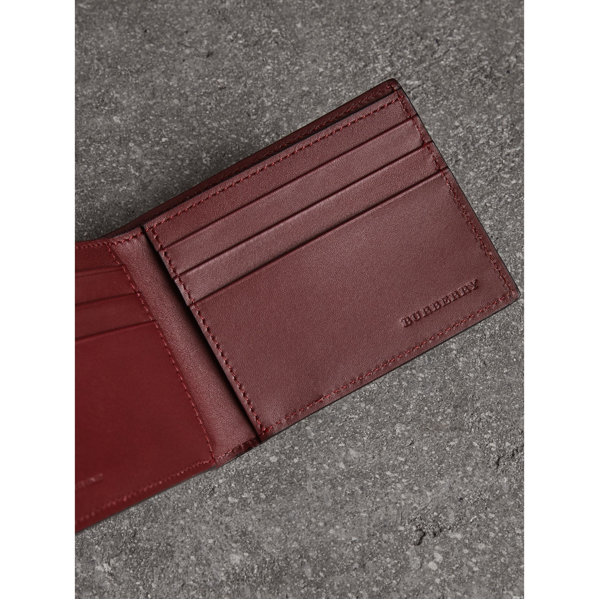 London Leather Bifold Wallet in Burgundy Red - Men | Burberry United States - gallery image 3