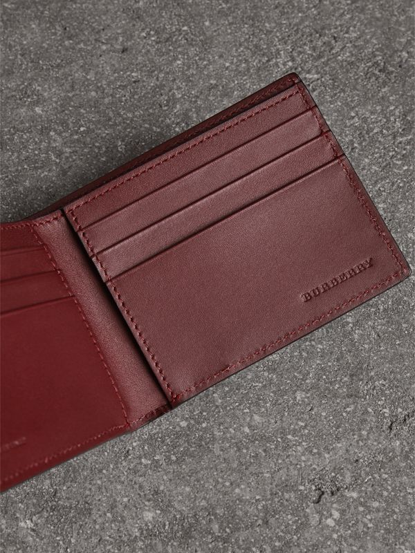 London Leather Bifold Wallet in Burgundy Red - Men | Burberry United States - cell image 3