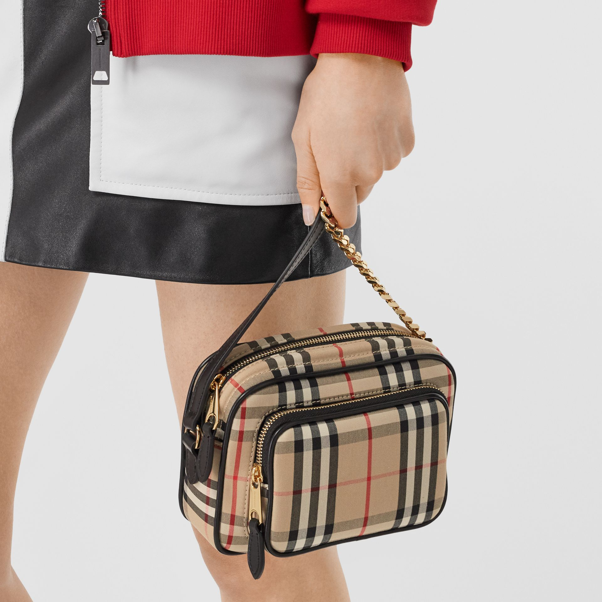 Vintage Check and Leather Camera Bag in Archive Beige | Burberry United States - gallery image 10