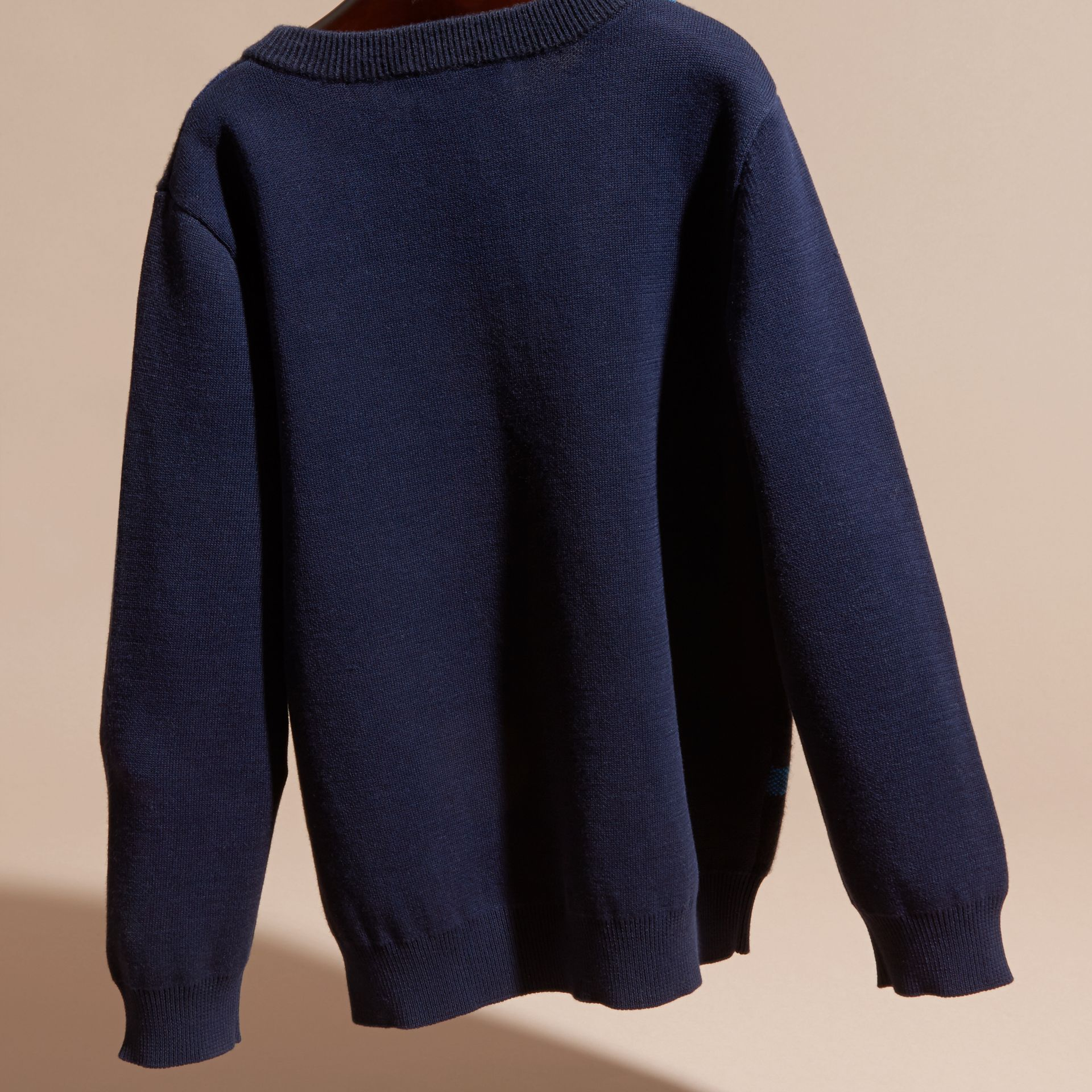 Navy Check Wool Cashmere Blend Sweater - gallery image 4