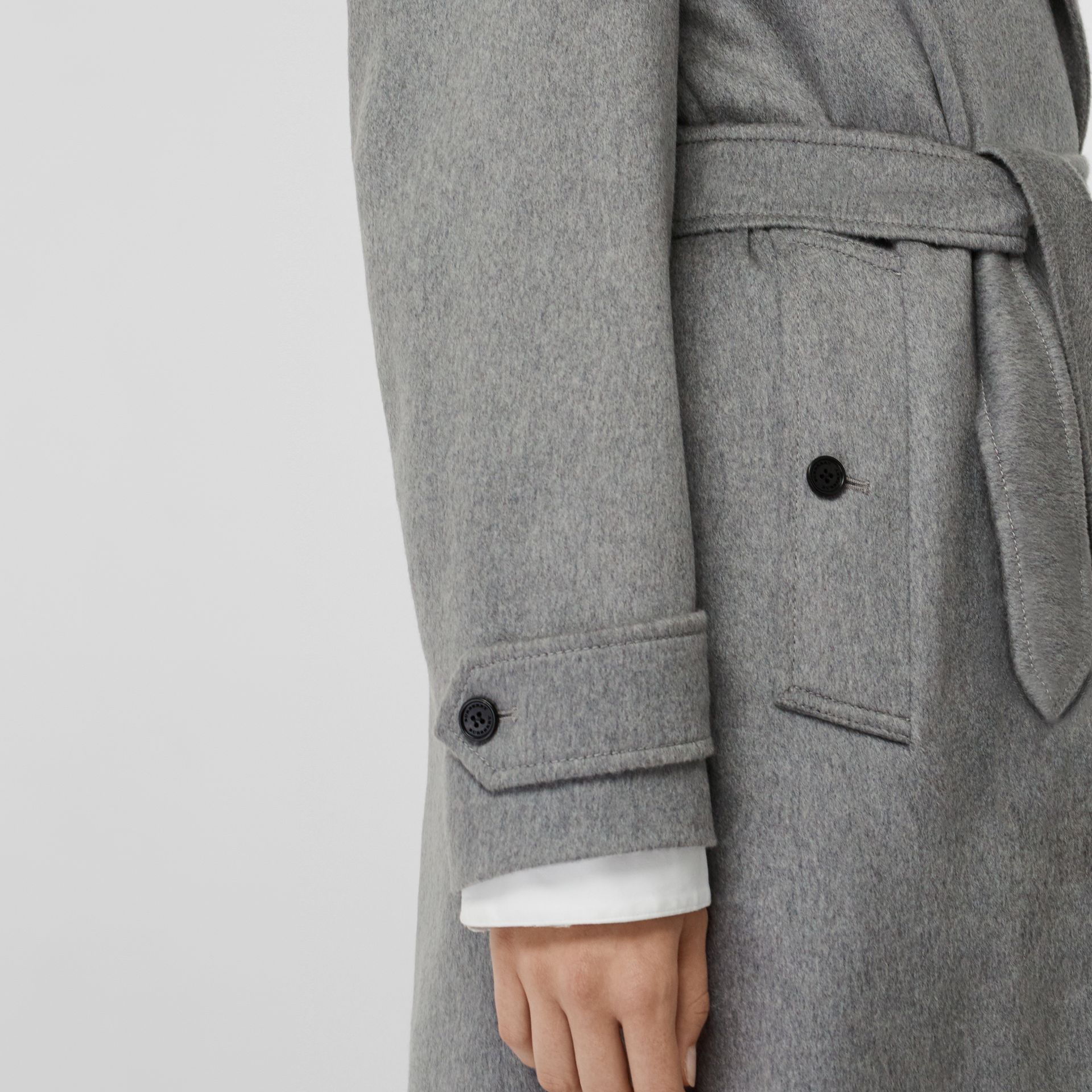 Peak Lapel Cashmere Wrap Coat in Pale Grey Melange - Women | Burberry - gallery image 4