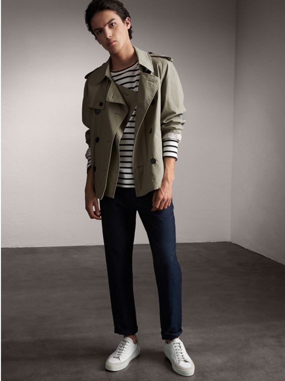 Unisex Tropical Gabardine Trench Jacket in Slate Green - Men | Burberry Singapore