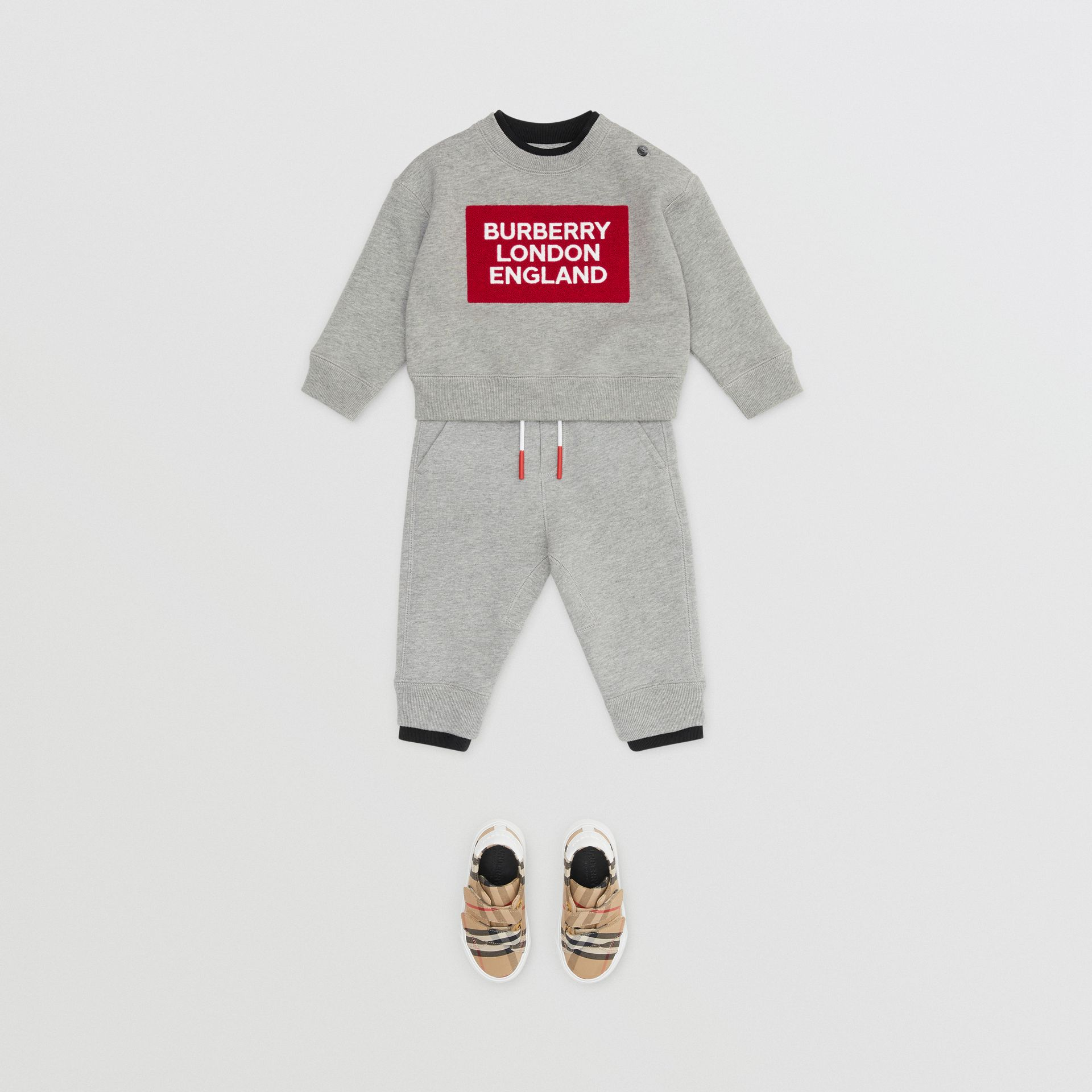 로고 디테일 저지 스웨트셔츠 (그레이 멜란지) - 아동 | Burberry - 갤러리 이미지 3