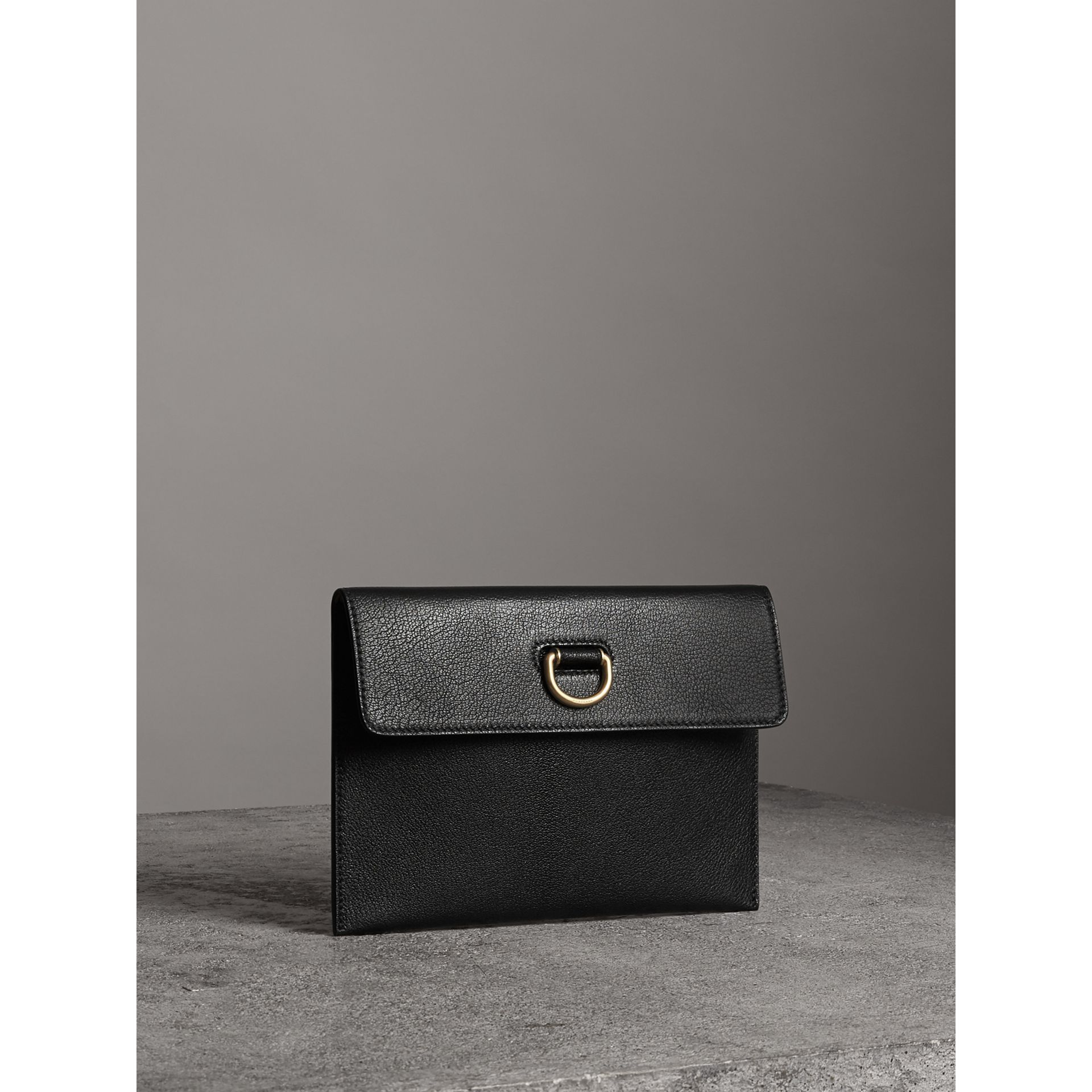 D-ring Leather Pouch with Zip Coin Case in Black/yellow - Women | Burberry United Kingdom - gallery image 6