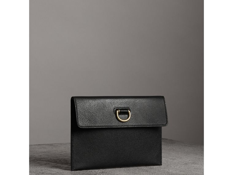 D-ring Leather Pouch with Zip Coin Case in Black/yellow - Women | Burberry - cell image 4