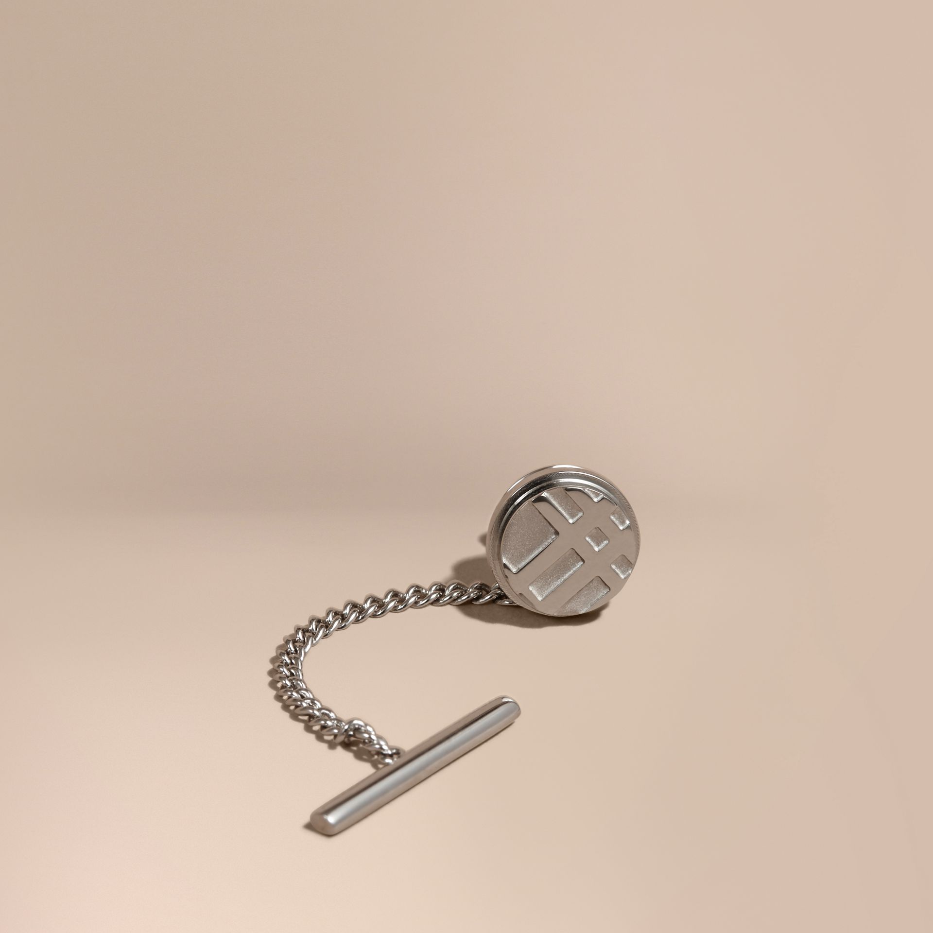 Silver Check-engraved Tie Tack - gallery image 1