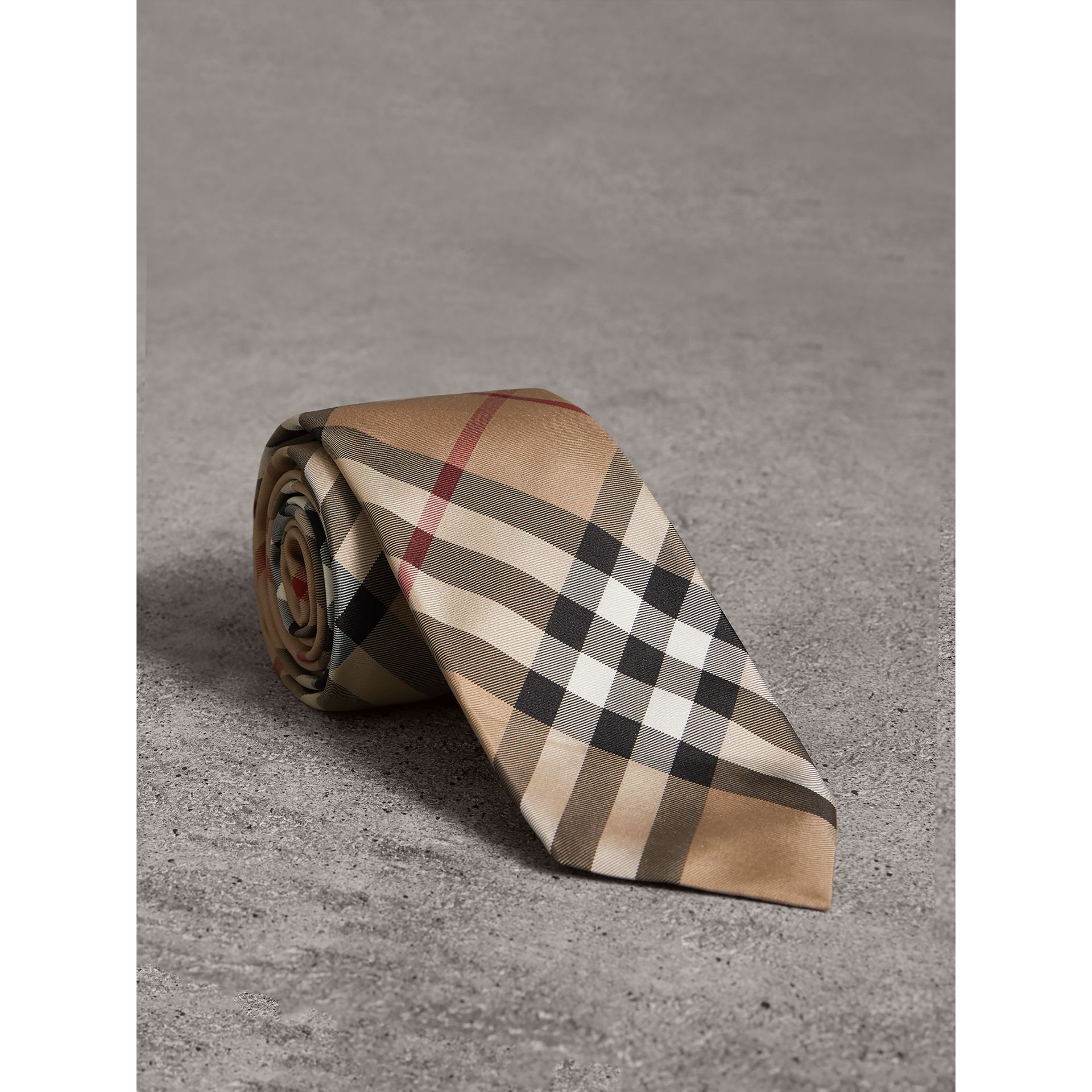 Modern Cut Check Silk Twill Tie in Camel - Men | Burberry - gallery image 0