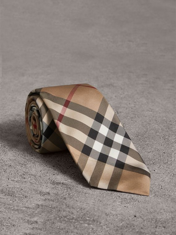 Modern Cut Check Silk Twill Tie in Camel
