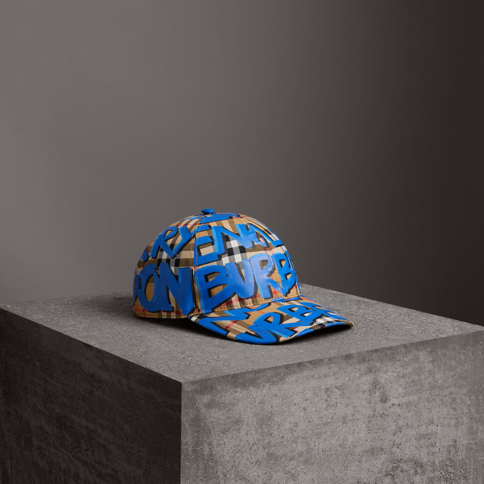 Graffiti Print Vintage Check Baseball Cap in Blue | Burberry - gallery image 0