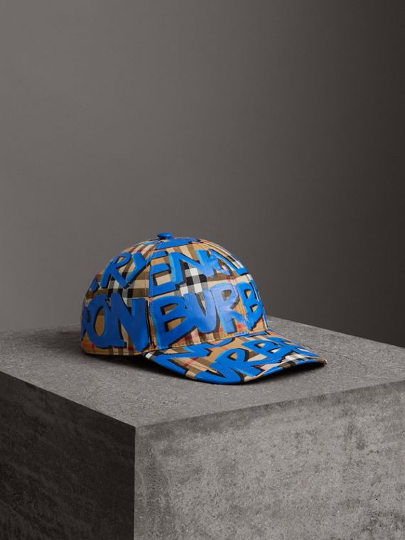 Graffiti Print Vintage Check Baseball Cap in Blue