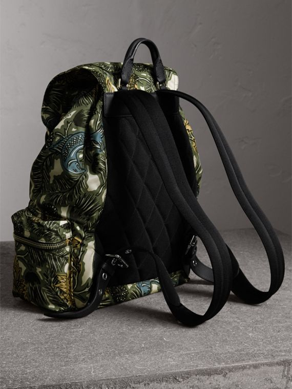 The Large Rucksack in Beasts Print Nylon and Leather in Sage Green - Men | Burberry - cell image 2