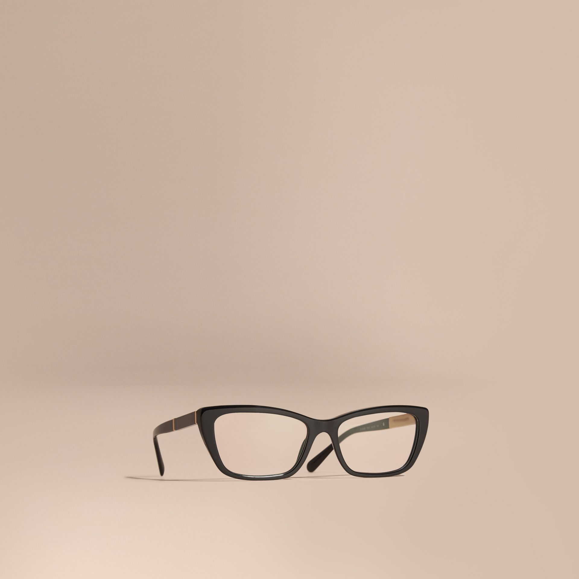 Black Check Detail Rectangular Cat-eye Optical Frames Black - gallery image 1