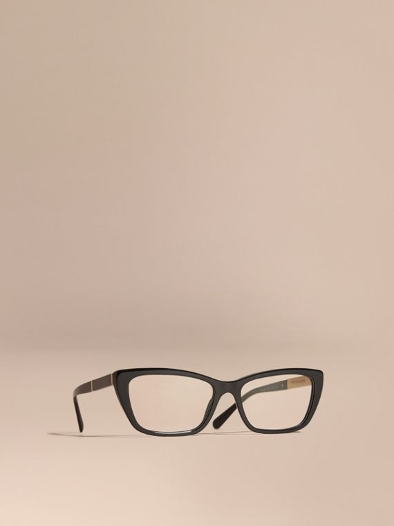 Check Detail Rectangular Cat-eye Optical Frames Black