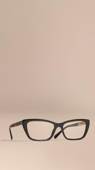 Monture œil-de-chat rectangulaire pour lunettes de vue avec détails check