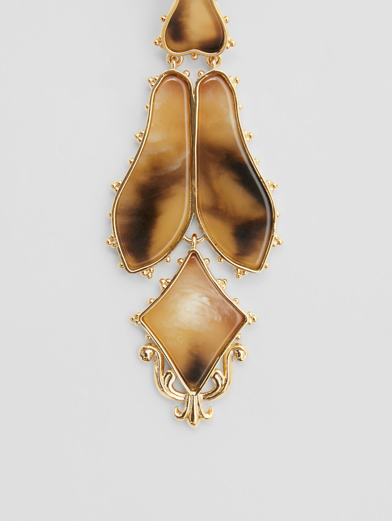 Resin and Gold-plated Drop Earrings in Light Gold/horn