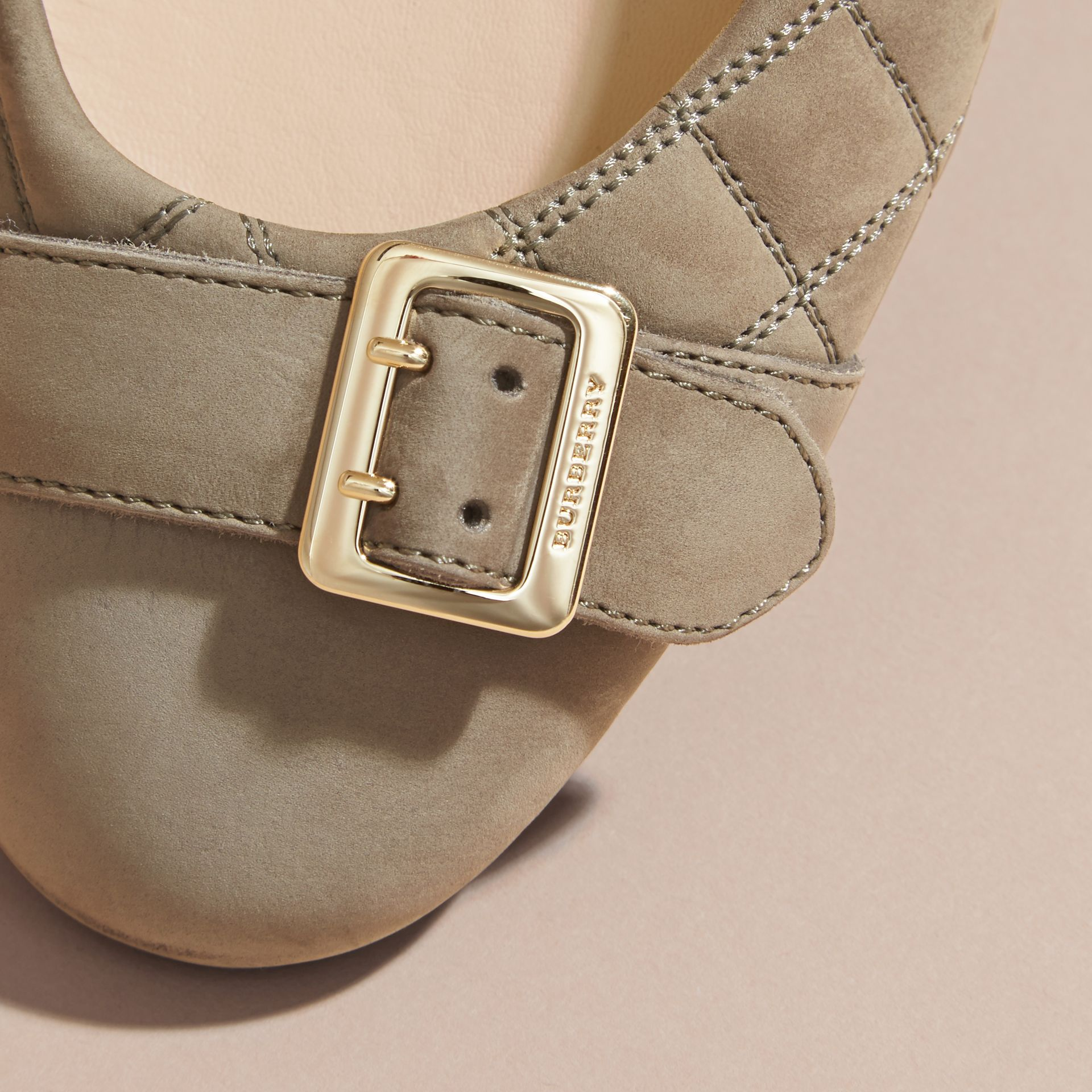 Buckle Detail Quilted Suede Ballerinas in Dark Heather Melange - Women | Burberry - gallery image 2