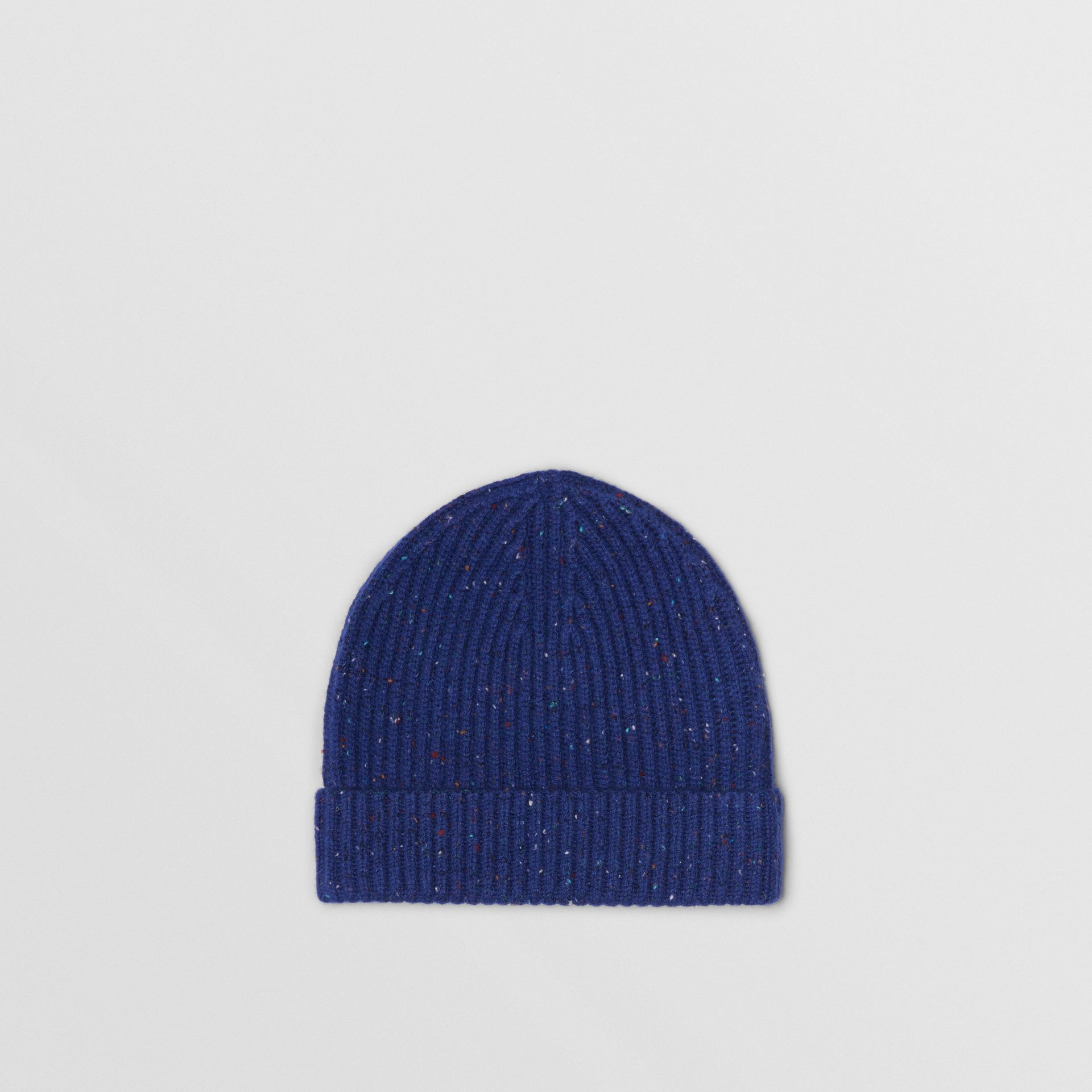 Embroidered Archive Logo Wool Blend Beanie in Navy | Burberry Singapore - gallery image 3