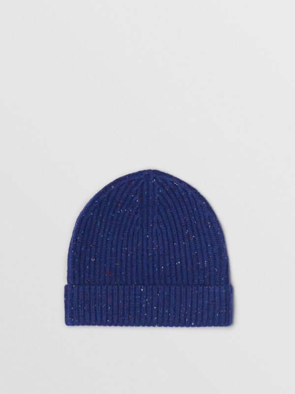 Embroidered Archive Logo Wool Blend Beanie in Navy | Burberry - cell image 3