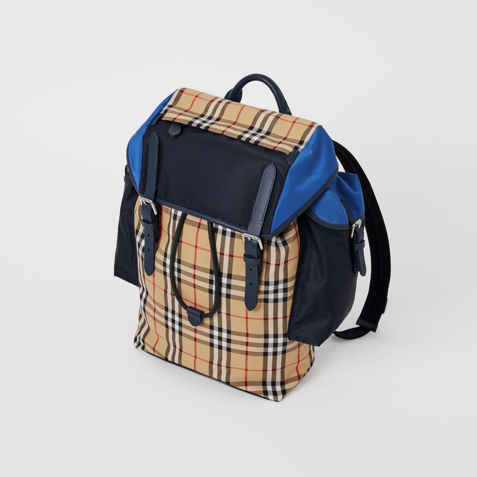 Colour Block Vintage Check and Leather Backpack in Navy - Men | Burberry Singapore - gallery image 7