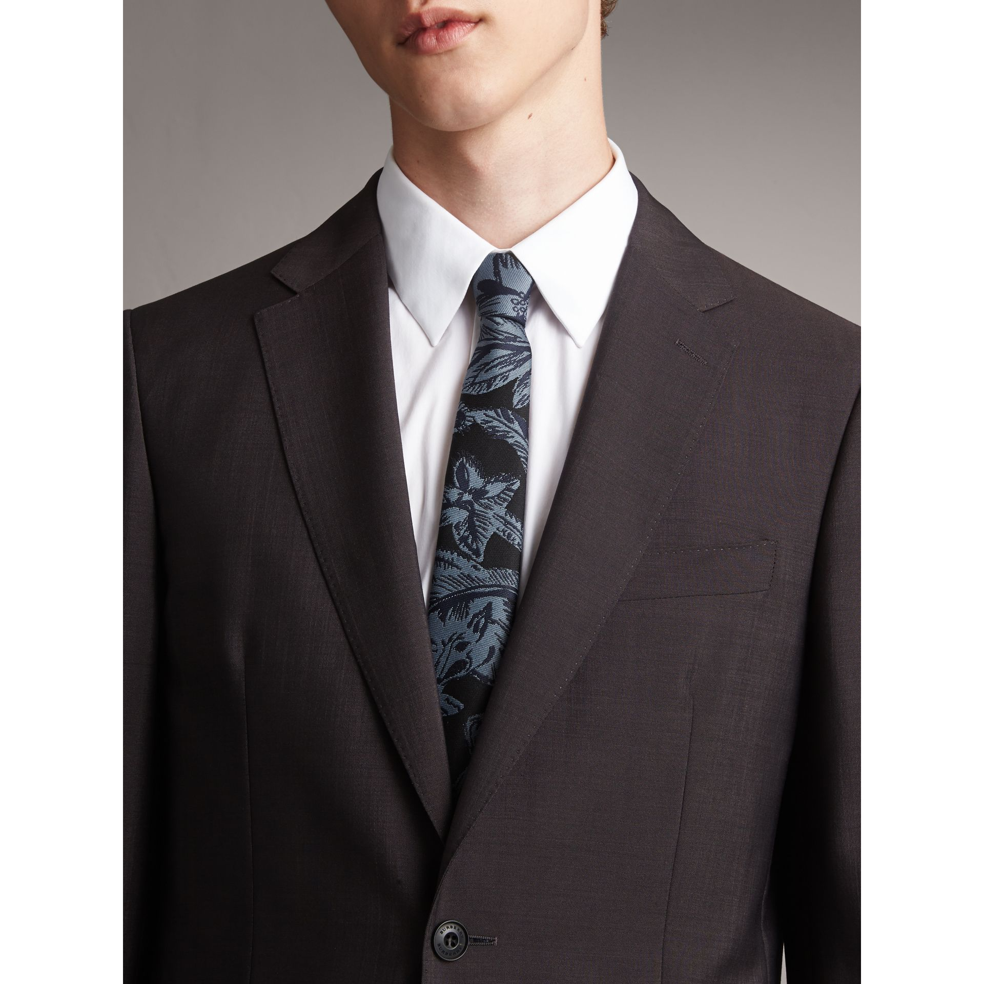 Slim Cut Beasts Silk Jacquard Tie in Stone Blue - Men | Burberry - gallery image 3