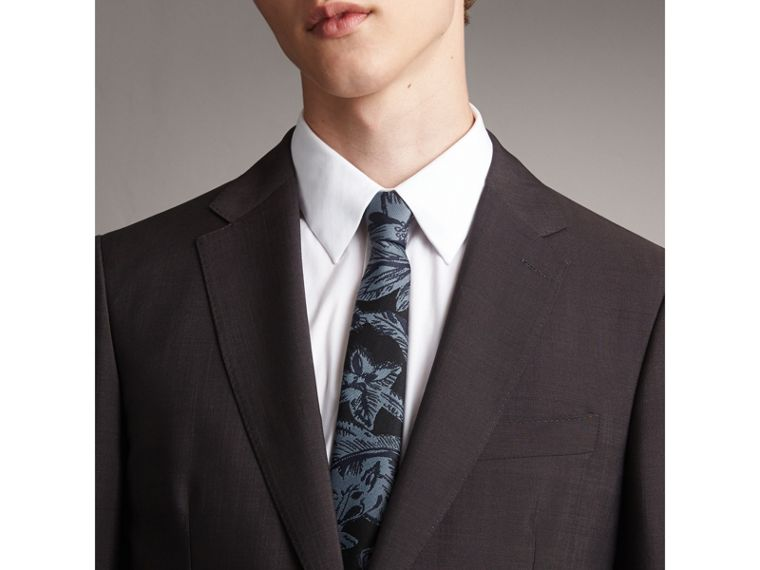 Slim Cut Beasts Silk Jacquard Tie in Stone Blue - Men | Burberry - cell image 2