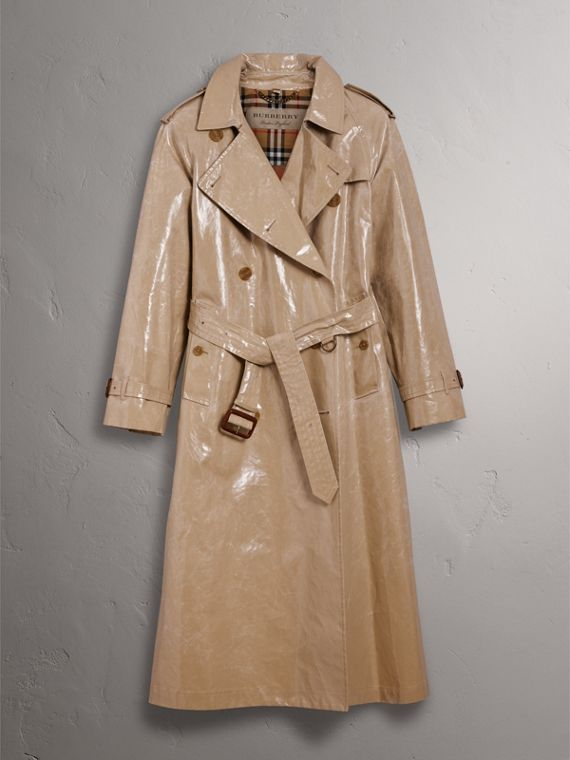 Raglan-sleeve Laminated Gabardine Trench Coat in Honey