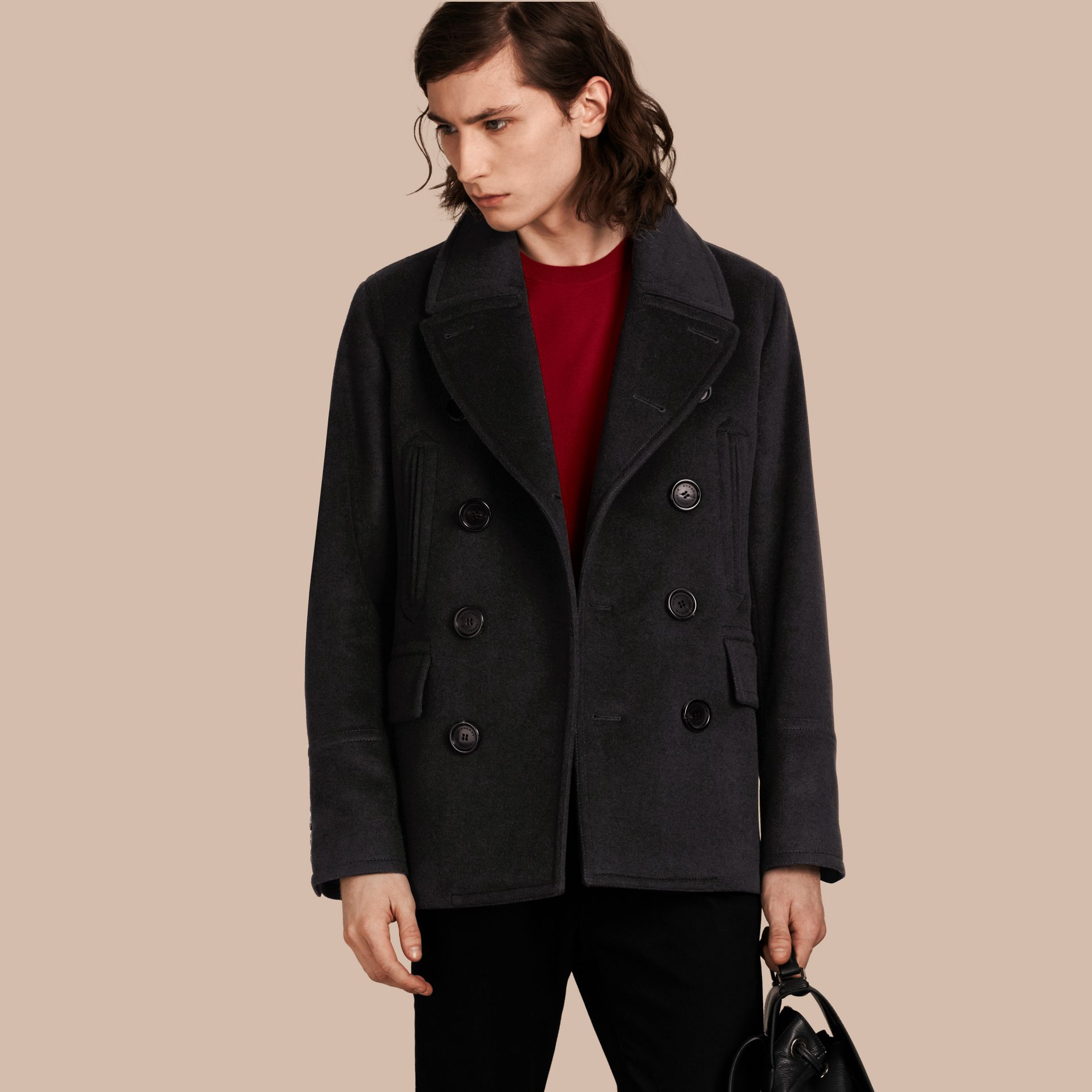 Black Wool Cashmere Pea Coat - gallery image 1
