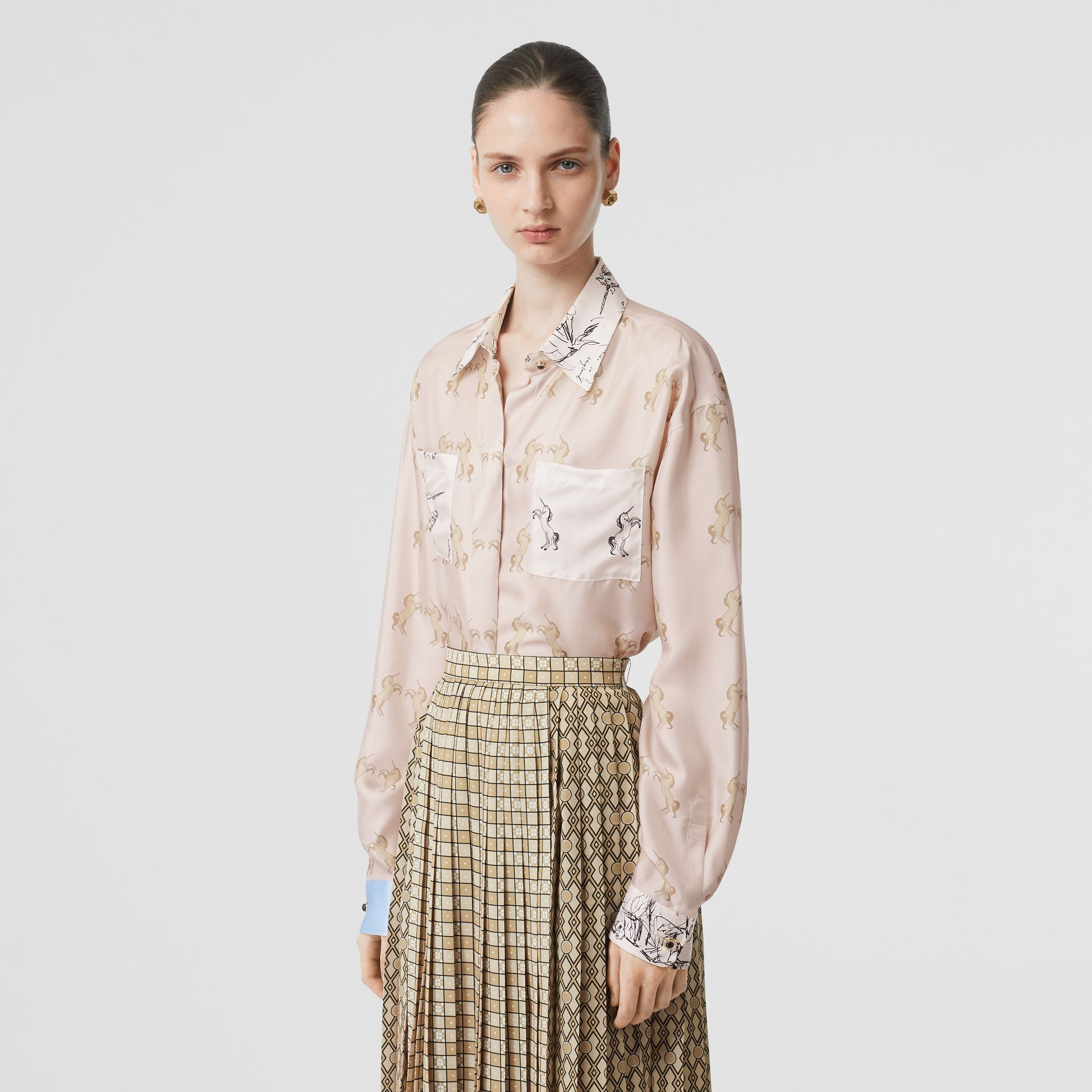 Contrast Unicorn Print Silk Twill Shirt in Pale Pink - Women | Burberry - gallery image 5