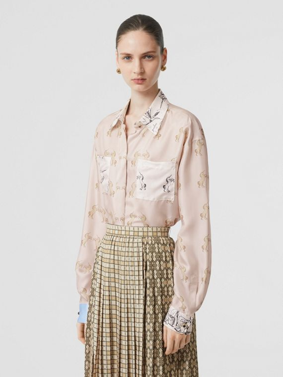 Contrast Unicorn Print Silk Twill Shirt in Pale Pink