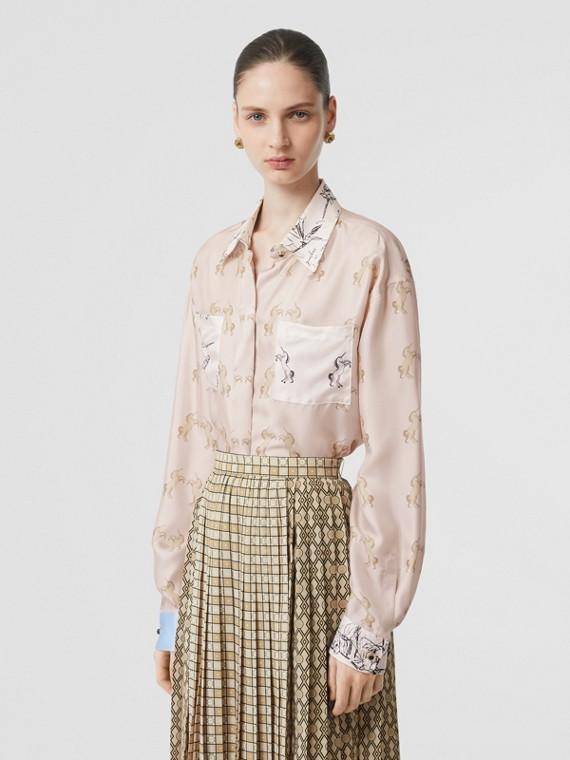 컨트라스트 유니콘 프린트 실크 트윌 셔츠 (페일 핑크)