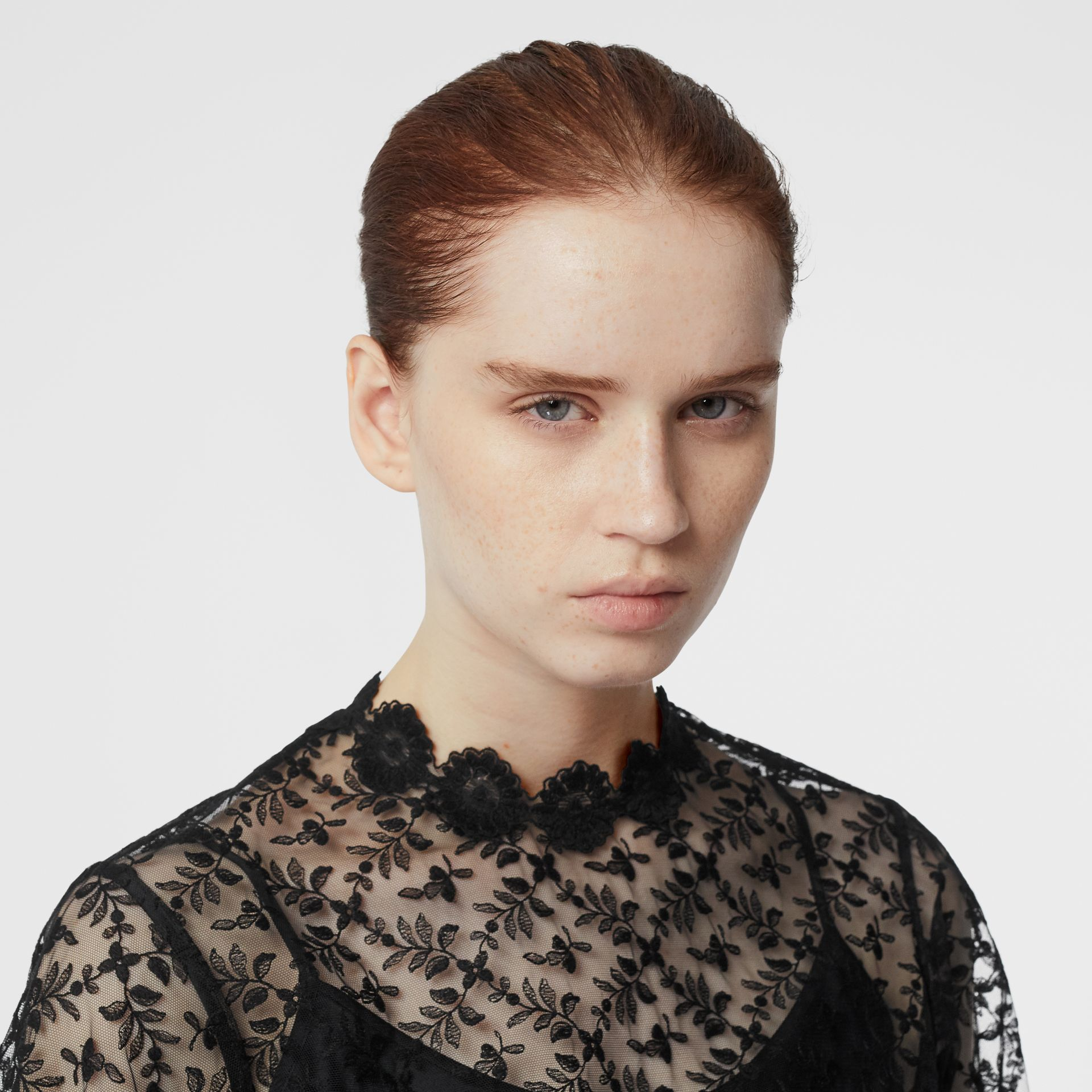 Floral Embroidered Tulle Dress in Black - Women | Burberry - gallery image 6