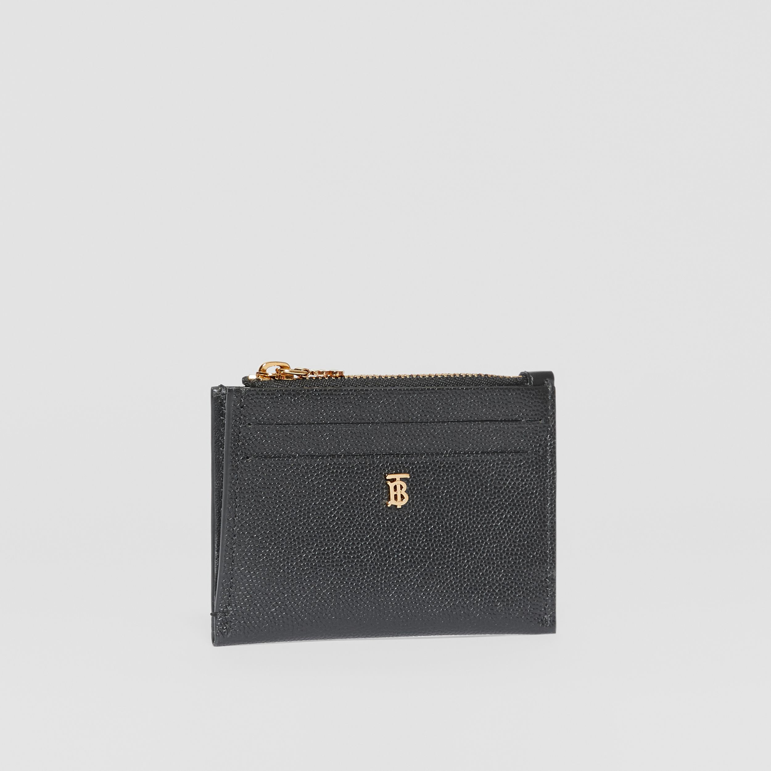 Monogram Motif Grainy Leather Zip Card Case in Black - Women | Burberry - 4