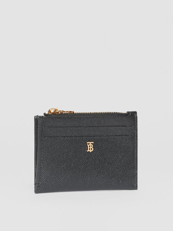 Monogram Motif Grainy Leather Zip Card Case in Black - Women | Burberry - cell image 3