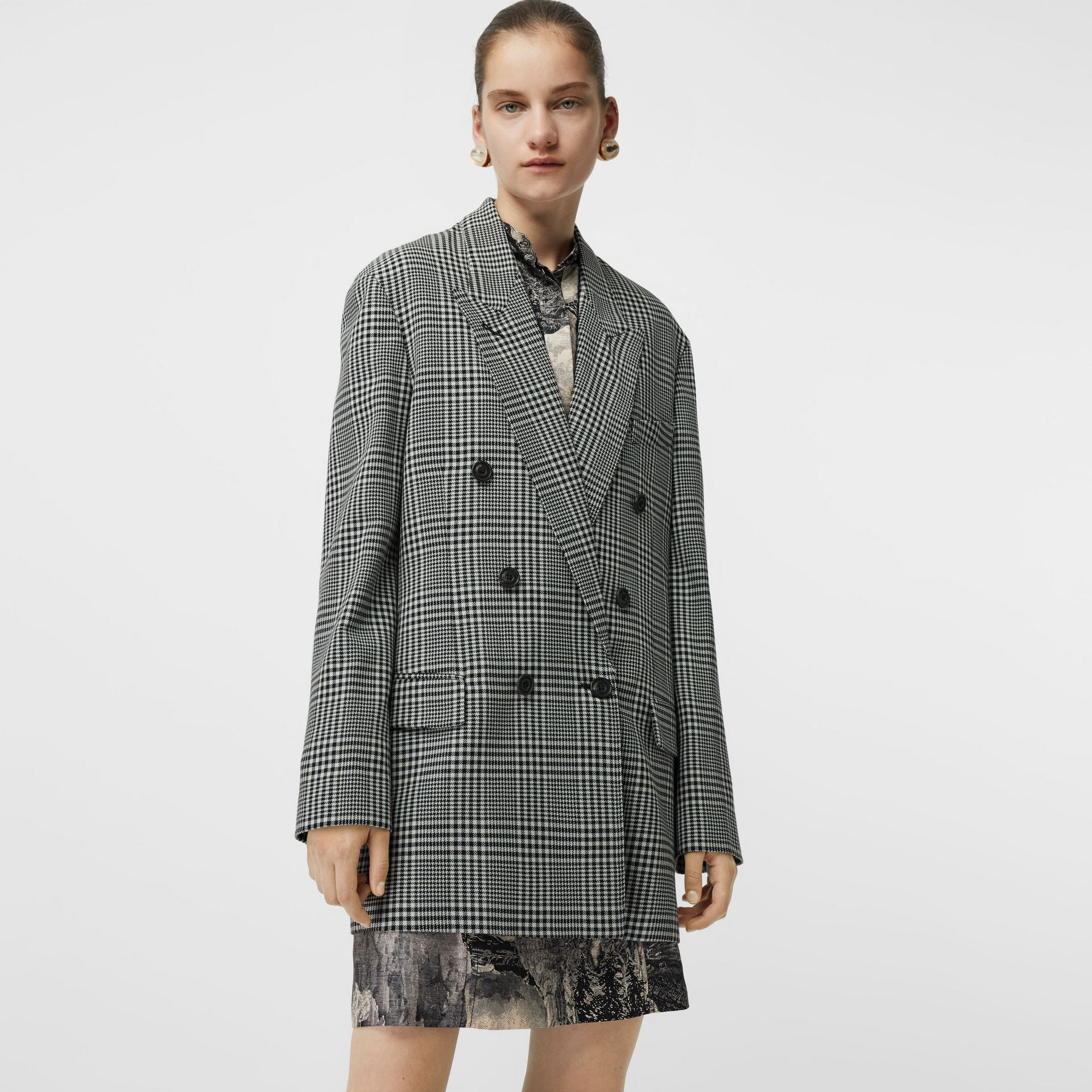 Prince of Wales Check Wool Oversized Jacket in Mist Green - Women | Burberry - gallery image 4