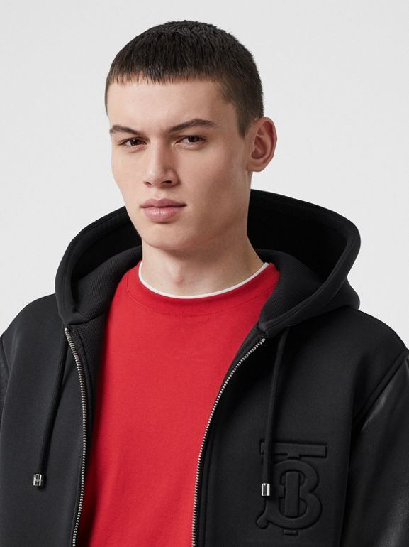 Lambskin-sleeve Neoprene Hooded Jacket in Black - Men | Burberry United States - cell image 1