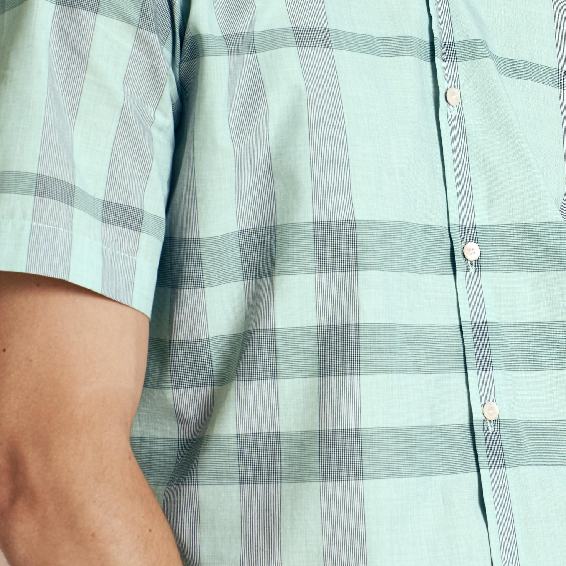 유칼립투스 그린 쇼트 슬리브 체크 코튼 셔츠 유칼립투스 그린 - 갤러리 이미지 5